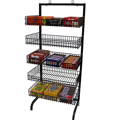 New Retail 5 Basket Wire Black Candy Rack with Sign Holder Clip 24''w X 18''dx56''h
