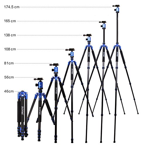 Z888C Travel Carbon Fiber Tripod with Bag by ZOMEI (Blue) by ZOMEI (Image #6)