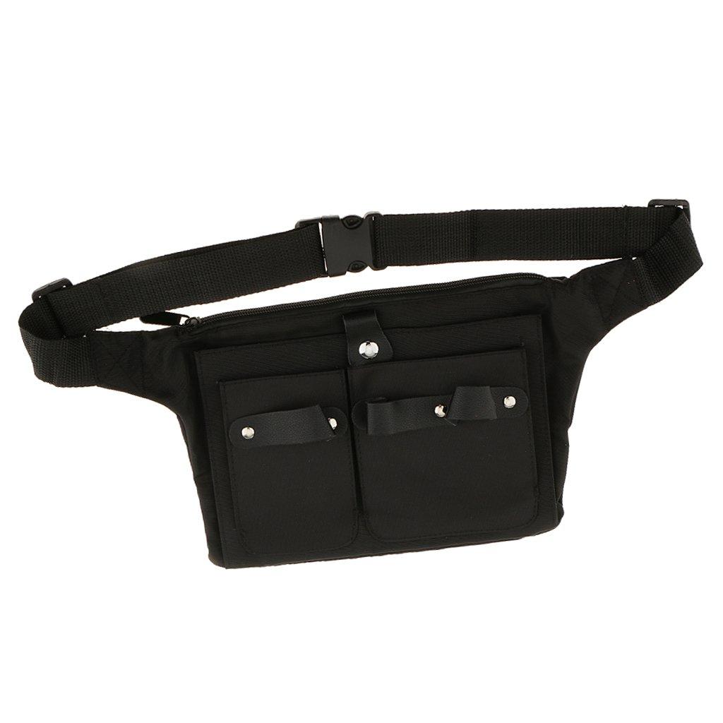 MagiDeal Sac en toile pour coiffeur professionnel, sac ceinture à ciseaux avec plusieurs poches, pour tondeuses, brosses, noir