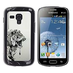 TopCaseStore / la caja del caucho duro de la cubierta de protección de la piel - Black Drawing Painting Art - Samsung Galaxy S Duos S7562
