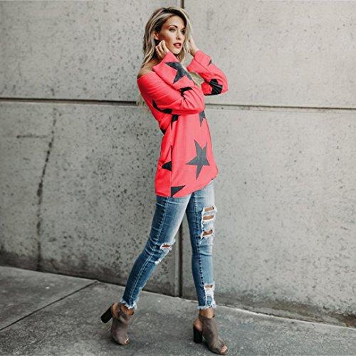 Tops Rouge Bretelles S Sauteur D'toile ~ 4XL Tops Blouse Impression Grande Longue Taille Femmes Manche Pull Wolfleague Sweat Femme sans Crop Shirt B1wpqY