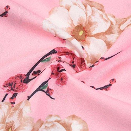 Tian-g Femmes Millésime Manches Courtes Moulante Tenue Décontractée Swing Bal Rétro Soirée Audrey Taille Haute Rose Robe Style Hepburn