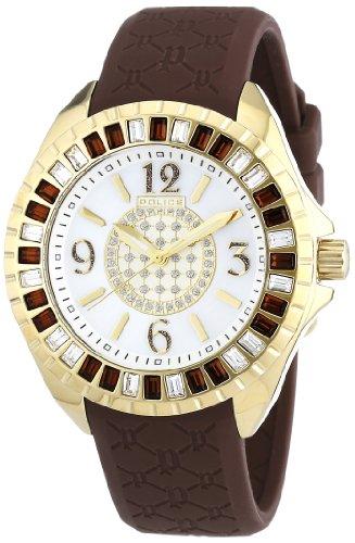 Police Women's PL-13090JSG/28C Jade Crystal Bezel Black Rubber Watch