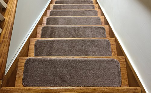 (Euro Collection Stair Treads Collection Indoor Skid Slip Resistant Carpet Stair Tread 8 ½ inch x 30 inch (Set of 7, Cappuccino Brown))