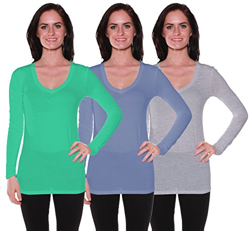 Active Basic Women's Long Sleeve V-Neck T Shirts 3 Pack(Blarny/Dst Blu/H Gry-M) supplier