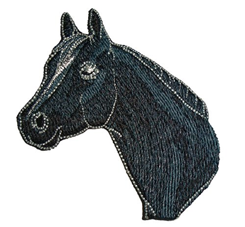 Embroidered Quarter Horse Head Animal Iron on Applique Patch (Black)