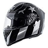 TORC Unisex-adult full-face-helmet-style T15 Motorcycle Helmet With Graphic (Gloss Black Captain Shadow,X-Large),1 Pack