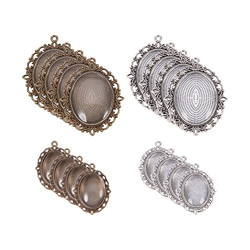 Pandahall Elite 2 Sizes Flat Oval Trays (20 Pcs) with Glass Cabochon Dome Tiles Clear Cameo (20 Pcs), Silver and Bronze, Total 40 pieces (20 Sets) for Crafting DIY Jewelry Making