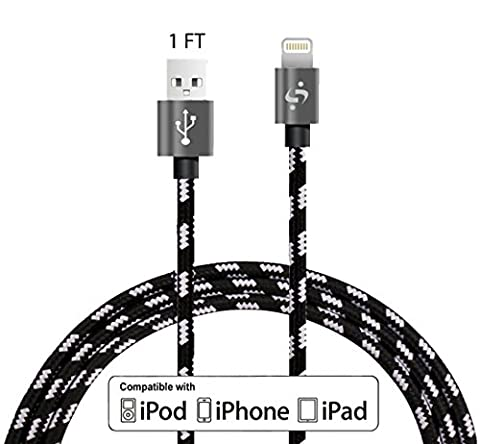 SyncTech Nylon Braided Durable 1FT 3FT 6FT Lightning Cable to USB High Speed Data Sync Charger for iPhone 7/6s/6/5/5s/SE/Plus iPad Mini/Air/Pro (A.) 1 Feet - (1 Foot Ipad Mini Charger)