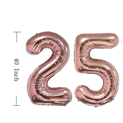 25th Birthday Decorations Party Supplies Balloons Rose Gold25th Banner