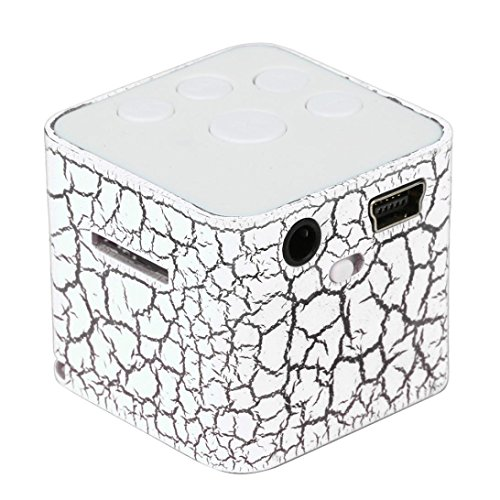 BuyEverything Portable Mini Speaker with Cable Colorful Crack LED Light Small Speaker Sound Box Cube Support Micro SD/TF Card, Up to 32GB Music Media Player (White)