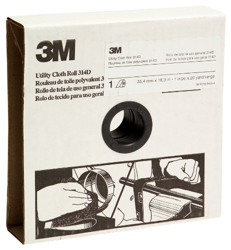 3M Utility Cloth Roll 314D, Aluminum Oxide, 1'' Width x 50 yds Length, P80 Grit, Maroon (Pack of 1) by 3M