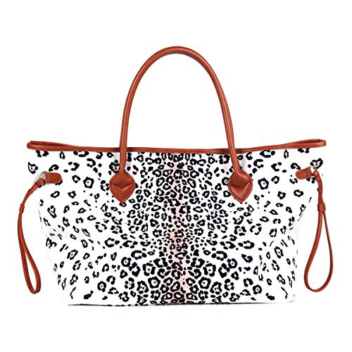 Personalize Women Large Canvas Casual Tote Bag White Leopard Print Bag with Faux Leather Handle (Monogrammed Canvas Handbag)