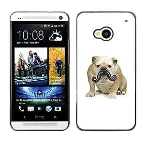 TopCaseStore / la caja del caucho duro de la cubierta de protección de la piel - Moustache Bulldog Small Dog Funny - HTC One M7