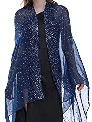 Vavy Blue Shawl with Rhinestone