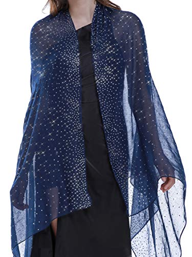 Shawls and Wraps for Evening Dresses Wedding Shawl Wrap Shiny Scarf Navy Blue