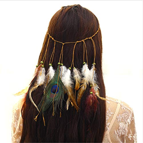 CHASIROMA Peacock Feather Hippie Headband Accessories Bohemia Tribal Indian Hippie Headpiece Braided Beads Headwear Festival Hair Decoration]()