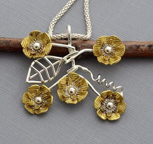 (Sterling silver brass buttercup daisy flower necklace)