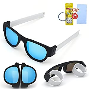 Hycles Foldable Sunglasses Polarized Lenses Folding Fashion Colorful Outdoors Sports Sunglasses Wear on Wrist for Adults and Kids (Ice blue lens, white leg)