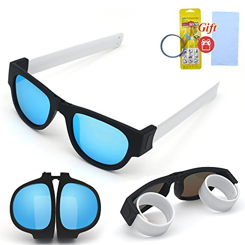 Hycles Foldable Sunglasses Polarized Lenses Folding Fashion Colorful Outdoors Sports Sunglasses Wear on Wrist for Adults and Kids (Ice blue lens, white (White Contact Lenses For Sale)