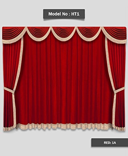 Saaria Red-1A HT-1 Home Decor Drape Movie Home Theater Event Stage Hall Club Backdrops Velvet Curtain 8'w x 8'H