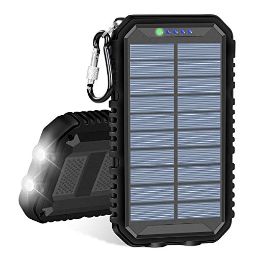 IXNINE Solar Charger 15000mAh Portable Power Bank with 2.4A Outputs Weatherproof Phone Chargers for Smart Phones, Tablet and Outdoor Camping
