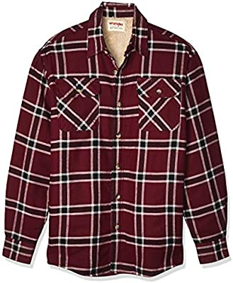 Wrangler Authentics Men's Long Sleeve Sherpa Lined Shirt Jacket, Tawny Port,  X-Large: Buy Online at Best Price in KSA - Souq is now Amazon.sa