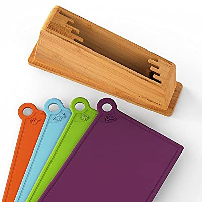 Set Of 4 Plastic Poly Chopping Board Perfectionist With Bamboo Holder