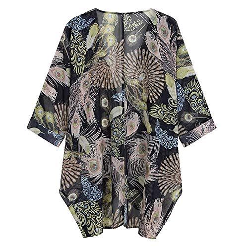 De Otoño Para Primavera Casual Jerséis Cárdigans Larga Tops Outdoor Mujer Manga Chaqueta Cardigan Negro Splicing Jersey Luckycat Outerwear Kimono Abrigo Con Estampada x4Tzw8