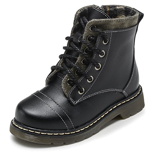 Fashiontown Kids Leather Combat Boots Snow Waterproof Round Toe Military Zipper Lace Up Ankle Shoes
