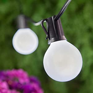 SkrLights 25Ft Frosted String Lights with 27 Globe Frosted Bulbs UL Listed G40 Patio Lights Garden Party Natural Warm Bulbs Cafe Hanging Umbrella Lights on Light String Indoor Outdoor-Black Wire