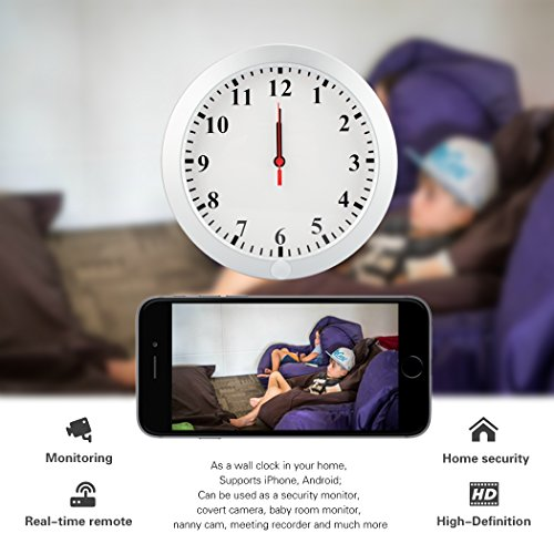 Poetele Upgraded HD 1080P WiFi Hidden Spy Wall Clock Camera Real-time Video Remote View on Your Phone Support iOS//Android//PC,Nanny Cam for Home Security No Audio