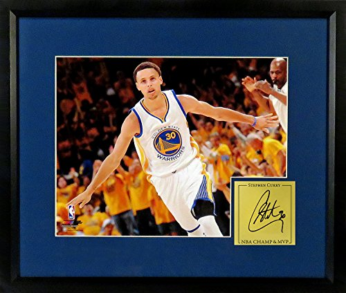 Sports Gallery Authenticated Framed 16 by 20 Inch GS Warriors Stephen Curry Airplane Celebration (SGA Signature Series)