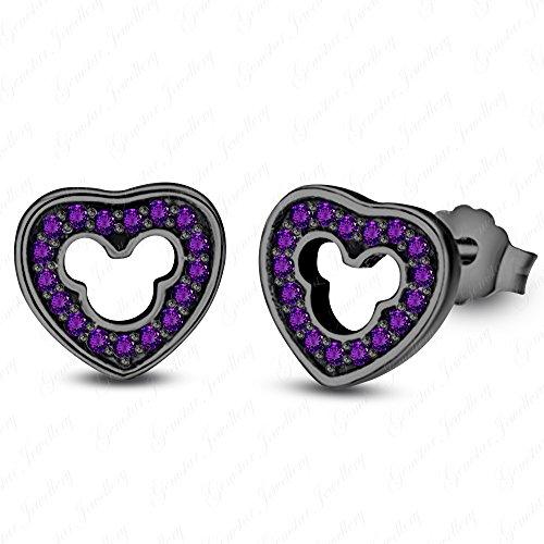 (Gemstar Jewellery Round Cut Purple Amethyst 14K Black Gold Finishing Mickey Mouse Heart Earrings)
