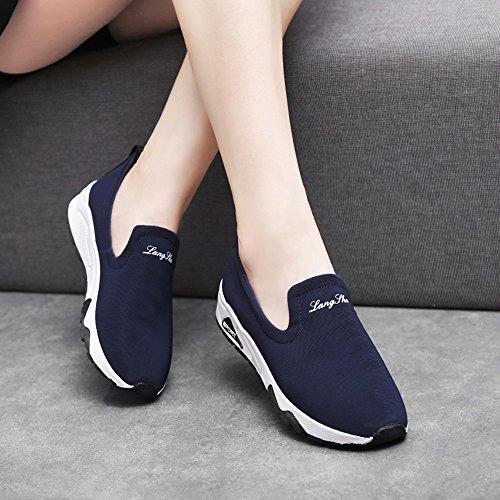 Caminar Azul Running Deportes Gym Athletic de Aire 3 Viajes Zapatos Fitness de Libre Rojo 35 Negro 40 Mujer Azul Zapatillas 5CM Kotzeb Plano Blanco Zapatillas Moda qvwARC