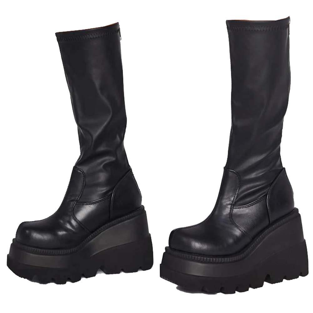 Womens High Platform Mid Calf Wedges Chunky High Heel Side Zip Combat Boots Knight Boots For Women