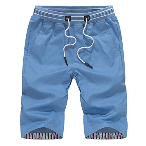 Worldwide Cargo United (Realdo Mens Cropped Trousers, Slack Loose Elastic Waist Solid Casual Fitness Short Pants (Blue,Large))