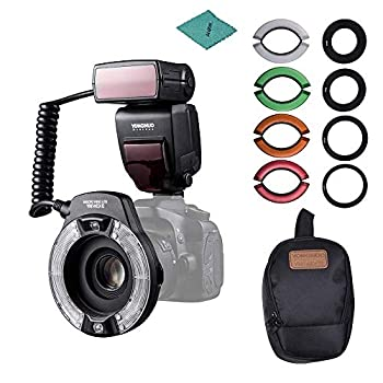 Image of Andoer YONGNUO YN14EX II Macro Ring Flash Light Kit with Large Size LCD Display Adapter Rings Color Temperature Filters Hot Shoe Mount Support M/TTL Flash for Canon DSLR Cameras Shoe Mount Flashes