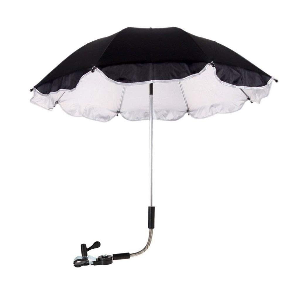 Loneflash Baby Stroller Umbrella,Baby Stroller Cover Parasol for Stroller Sun Rain Protection UV Rays (Black)