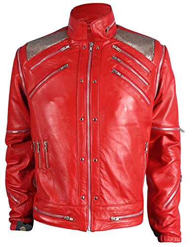 MJ Beat it Michael Jackson Leather Jacket RED 100% Real Leather, S ()