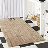 "Safavieh Plush Master Bath Collection PMB720C Handmade Camel Cotton Bath Mat, 1 feet 9 inches by 2 feet 10 inches (1'9"" x 2'10"") (Set of 2)"