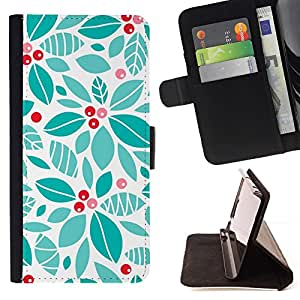 Teal Winter Holiday Floral - Modelo colorido cuero de la carpeta del tirón del caso cubierta piel Holster Funda protecció Para HTC Desire 820