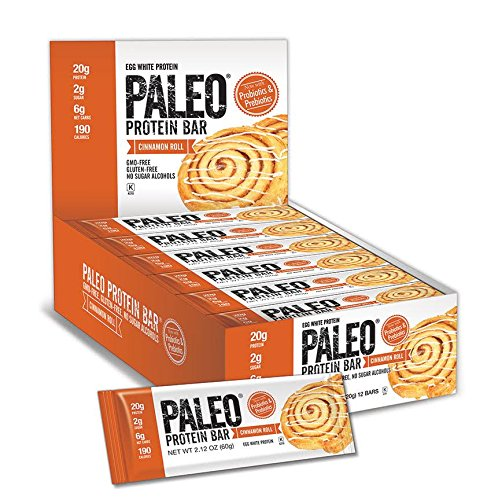 Paleo Protein Bar® (Cinnamon Roll) 12 Bars (20g Egg White Protein 6 Net Carbs w/Probiotics)