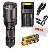 NiteCore TM03 Super Bright 2800 Lumens Cree XHP70 LED Flashlight w/ Two dedicated IMR 18650 Rechargeable Battery, Nitecore SC2 Superb Charger, Car Adapter and LumenTac Battery Organizer