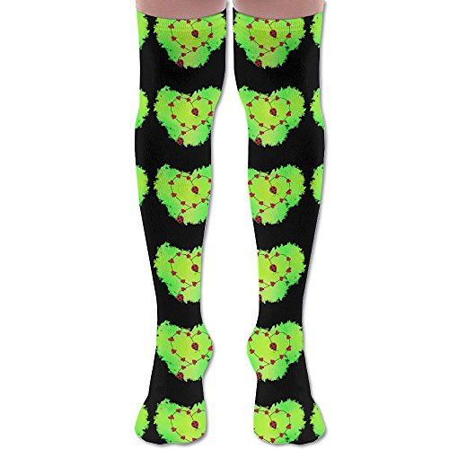 LADYBUG HEARTS Green Unisex Athlete Over Knee High Socks Sport Football Soccer Tube - Delivery Usps Times To Ireland