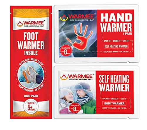 - Warmee Body + Hand + Foot Warmers Variety Pack - Extra HOT (10 Body + 10 Pairs Hand + 5 Pairs Foot)