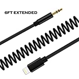 6 ft coiled lightning cable - Lightning to 3.5 mm Headphone Jack Adapter,QIAOLI iPhone 7 Earphone Adapter Male to Male Car Aux Stereo Audio Cable Spring Cord Updated for iphone 7 7 Plus 8 8 Plus and iPhone X 2 Meter Black