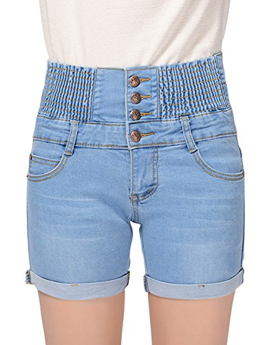 Chouyatou Women's Casual Smocked Waist Button Front Denim Shorts (XX-Large, Light Blue) (Front Smocked Button)