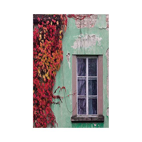 - Polyester Garden Flag Outdoor Flag House Flag Banner,Autumn,Fall Ivy on Old House Walls Left Countryside Mansion Vintage Architecture Design,Red Mint Green,for Wedding Anniversary Home Outdoor Garden