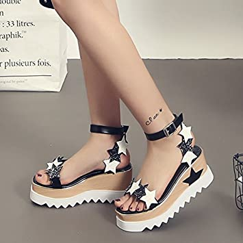 102784b8256d GTVERNH-Thick Soled Sandals Women Fashion Summer Korean Stars With A  Sequined Buckle Platform Shoes